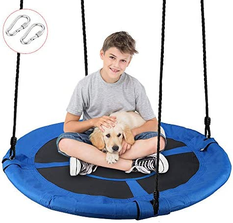 EOSAGA 40 Flying Saucer Tree Swing,Outdoor Swing, Extra Larger 40 Diameter ,Waterproof 900D Oxford Polyester, Perfect for Kids Playground Swing, Backyard and Playroom Blue