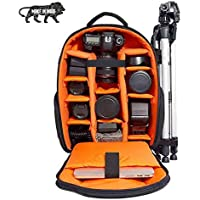 Smiledrive DSLR Camera Laptop Bag Backpack with Padded Adjustable Grids for Lenses, Accessories-Includes Waterproof Cover-Made in India