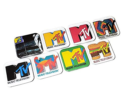MTV Music Television Retro Logo Button Pins Tie Dye Hamburger Classic Pink Flamingo Astronaut Moon Man 80's Girlfriend Birthday Gifts