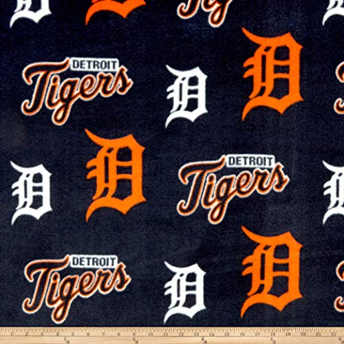 Fabric Traditions MLB Fleece Detroit Tigers Fabric by The Yard, Orange/Navy ()