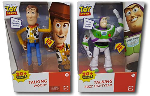 Nozlen Toys Authentic Disney-Pixar Toy Story Talking Woody and Talking Buzz Lightyear 7 Deluxe Action Figure Bundle