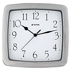8.5-inch Quality Square Water Resistant Quartz Wall Clock Water Resistant Special for Small Space, Office, Boats, RV (W40507 Chrome)