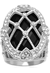 Jewelili Black Onyx & Clear Crystal Sterling Silver Ring - Size 7