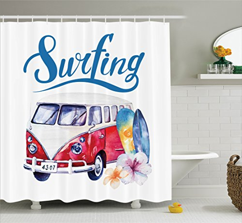Ambesonne Surfboard Decor Collection, Beach Holiday Tropical Travel Adventure Surfing Time Wagon Bus Shell and Flower Image, Polyester Fabric Bathroom Shower Curtain, 75 Inches Long, Red Blue