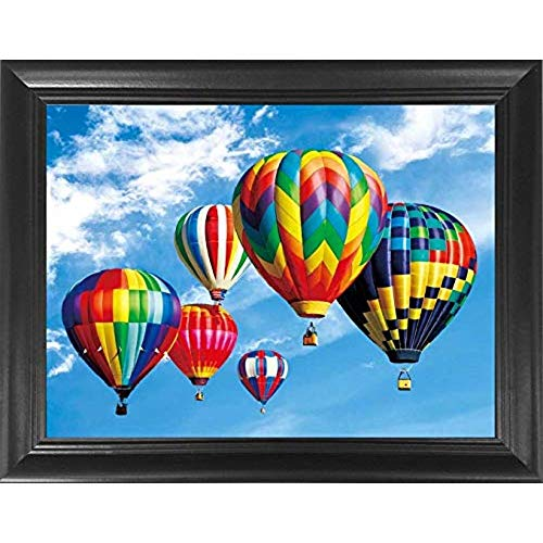 Hot Air Balloons 3D Poster Wall Art Decor Framed Print | 14.5x18.5 | Lenticular Posters & Pictures | Memorabilia Gifts for Guys & Girls Bedroom | Colorful Balloon & Basket in The Sky Decoration