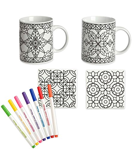 HearthSong® Color Your Own Mugs and Coasters Set, Geometric