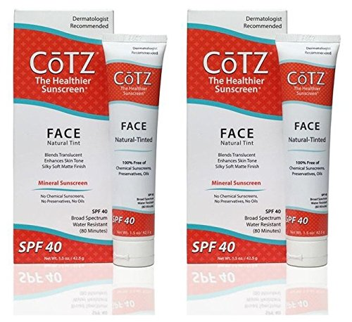 CoTZ FACE Natural Tint SPF 40 Mineral Sunscreen (Pack of 2) With Zinc Oxide, Titanium Dioxide and Iron Oxide, For Acne-Prone, Oily, Normal, Dry, Combination, Sensitive or Mature Skin, 1.5 (Oil Free Sunblock Sheer Tint)