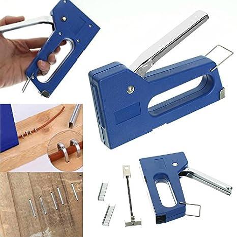 TOOGOO Grapadora de clavos mini grapas Kit de maquina de grapado con 100 piezas Clavos de 6 mm para muebles Herramientas de mano de grapadora de ...