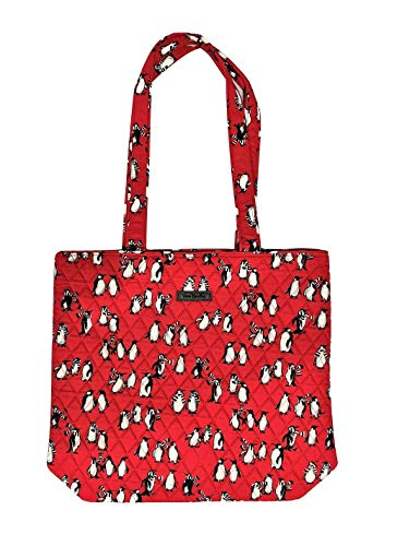 Vera Bradley Tote with Solid Color Interior (Updated Version) (Playful Penguins Red)