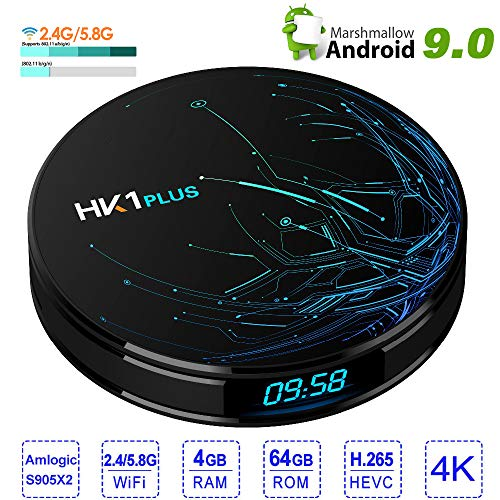 LQQZZZ Android 9.0 TV Box, 4K 4GB RAM 64GB ROM TV Box Dual Wifi 2.4Ghz / 5Ghz H.265 100Mbps BT4.1 Support Youtube Set…