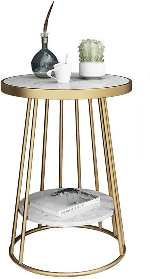 Zcyg Mesita de Café, mesita de mármol Metal Extremo Mesa, mesilla de café, Hierro Forjado Mesa Redonda de Oro, for el hogar Habitación Sala de jardín al Aire Libre: Amazon.es: Hogar