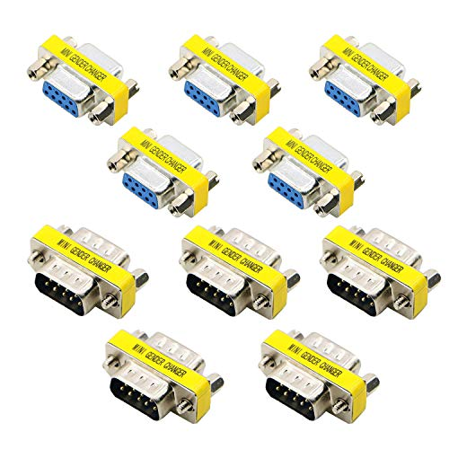 SAISN 9 Pin DB9 RS-232 Adapter, 5 pcs Male to Male and 5 pcs Female to Female, Serial Cable Gender Changer Connector Coupler, Pack of 10