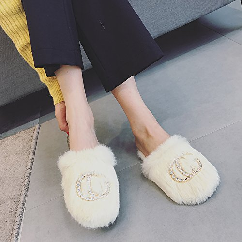 Fankou autunno e inverno vero femmina Comfort mezza pantofole scarpe trapano acqua fondo piatto unico di scarpe pigri indoor e outdoor usura ,36, marrone