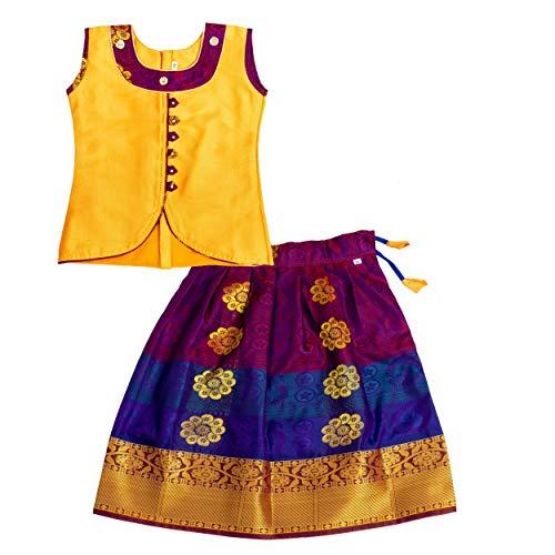Preethi Dresse's Girls Cotton Silk Lehenga Choli (Pdslgd1_01_Gold And Violet_6-12Months)