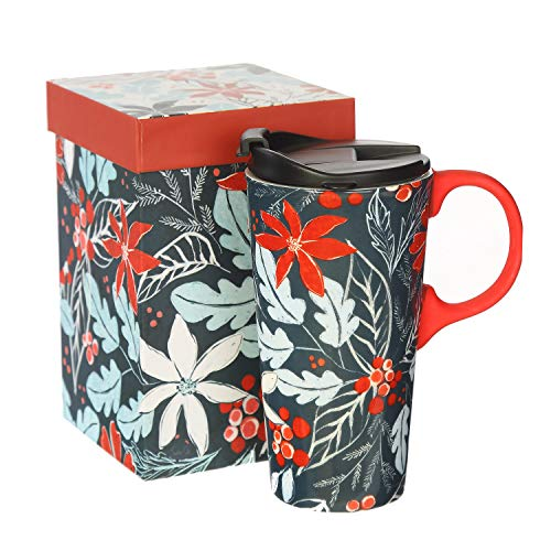 CEDAR HOME Travel Coffee Ceramic Mug Porcelain Latte Tea Cup With Lid in Gift Box 17oz. Blue Holly Pattern