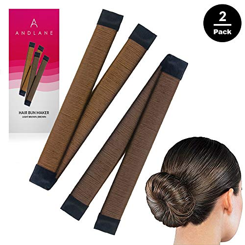 Hair Bun Maker French Twist Hair Fold Wrap Snap by Andlane (1 Brown, 1 Light Brown)