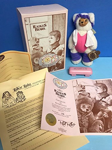 Angie Aerobics Original Robert RAIKES BEARS with Wood Carved Face and COA NOS from Raikes Bears
