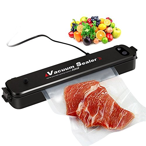 Vacuum Sealer Machine,Household Mini Vacuum Sealing Machine 100~240V 90W Plastic Automatic Food Vacuum Sealer Vacuum Packaging Tool,Including Vacuum Sealer 15 Bags - Black by Foneda