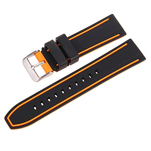 EACHE Silicone Watch Strap Rubber Replacement Diver Sport Waterproof Watch Band Black Orange Silver Buckle 20mm by EACHE (Image #2)