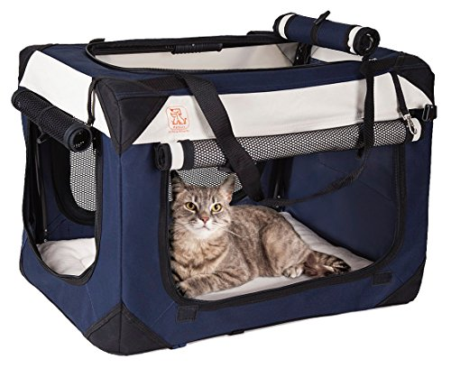 PetLuv Soothing Happy Cat Medium - Large Premium Soft Sided Cat Carrier & Travel Crate w/Locking Zippers Plush Nap Pillow 4X Interior Room 4 Windows Sunroof Folds Flat Washable Reduces Anxiety (Height Box Medium)