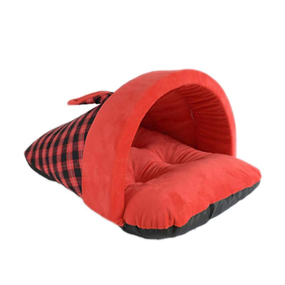 YBBDHD British Style Slippers Semi-Closed Kennel Winter Warm Cat Cave Bed Pet Nest Small to Medium Dog Mattress Pet Supplies by YBBDHD