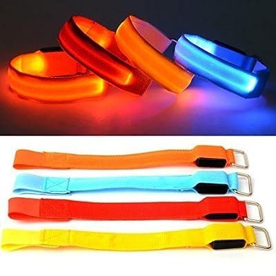 Caseroye 4 pcs Led Armband Running Safety Cycling Jogging Reflective Belt Wrist/Ankle