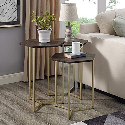 (Overstock Modern Hex Nesting Tables, Set of 3-14 x 16 x 22h/14 x 16 x 24h/14 x 16 x 23h Dark Walnut/Gold)