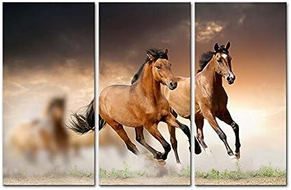 Impresión de Lienzo de Pared Arte Imagen running wild caballo marrón caballos al galope Giclée de puesta de sol 3 piezas pinturas modernas en estirada