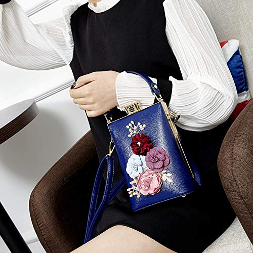 Blue Miniatura Y Bandolera Messenger Bolso Mujer Pequeña Flores xOnBavSqw