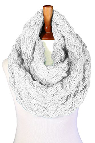 Basico Women Winter Chunky Knitted Infinity Scarf Warm Circle Loop Various Colors (Chunky White)