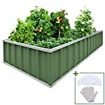 """KING BIRD Extra-Thick 2-Ply Reinforced Card Frame Raised Garden Bed Galvanized Steel Metal Planter Kit Box Green 68""""x 36""""x 12"""" with 8pcs T-Types Tag & 2 Pairs of Gloves (Grey) 21 【Extra-thick 2-Ply Reinforcement】 Double card frames on the two sides of sheet make the garden bed more durably and stably; never worry about its distorted or collapsed and it presents much more beautiful design; 【Advanced Installation Design】 Patent of this new installation design gives you a superbly convenient installation procedure; you just need piece together the card frame and sheet; a firm garden bed will present to you; 【Multilayer Galvanized Paint】 Upgraded multilayer galvanized paint efficiently prevents rust and continues to beauty; also never worry about that pest and rain damage the wood garden bed; galvanized steel garden bed provides a lasting use and no discoloration;"""