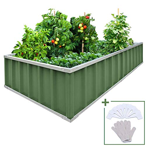 KING BIRD Extra-Thick 2-Ply Reinforced Card Frame Raised Garden Bed Galvanized Steel Metal Planter Kit Box Green 68″x 36″x 12″ with 8pcs T-Types Tag & 1 Pair of Gloves (Jade-Green), 17 Cu. Ft.