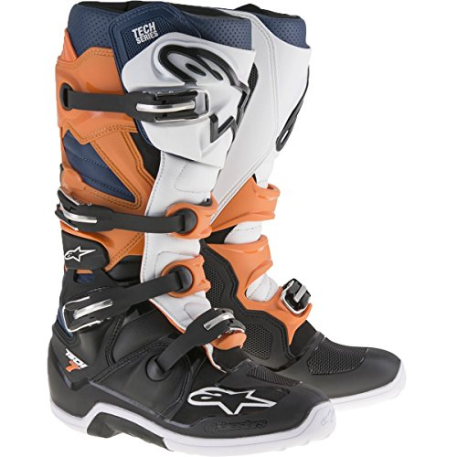 Alpinestars Men's Tech 7 Enduro Boots (Black/Orange/Blue/White, Size 10)