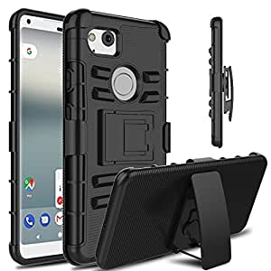 """Google Pixel 2 XL Case, Venoro Heavy Duty Armor Holster Defender Full Body Protective Case Cover with Kickstand and Belt Swivel Clip for Google Pixel 2 XL 6"""" 2017 Release (Black)"""
