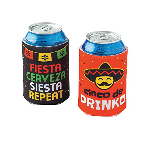 Fun Express Fiesta Can Sleeves | 12 Count | Great for Cinco De Mayo, Mexican Themed Event, Annual Celebrations, Parades, Party Supply, Favor, Drinking Accessory]()