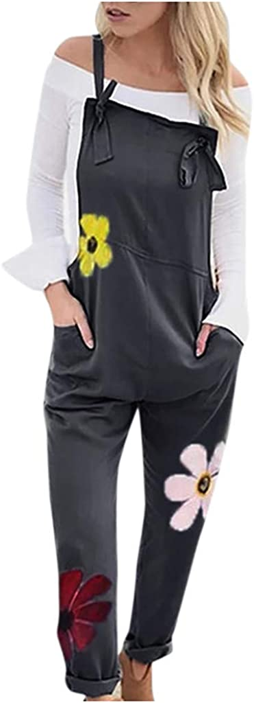 Salopette da Donna,Sasstaids❀ Donne Fashion Casual Collo Quadrato Stampa Floreale Tuta Grigio S//M//L//XL//XXL