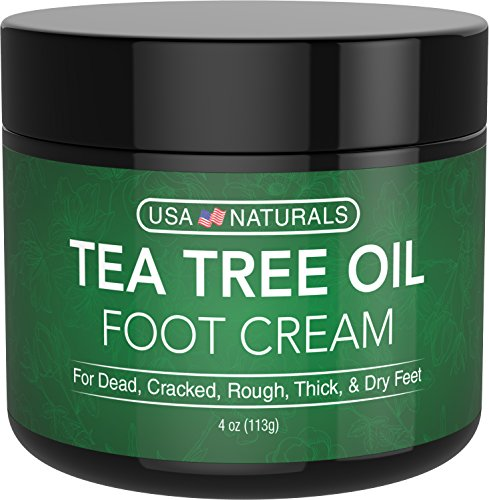 Tea Tree Oil Foot Cream - Instantly Hydrates and Moisturizes Cracked or Callused Feet - Rapid Relief Heel Cream - Antifungal Treatment Helps & Soothes Irritated Skin, Athletes Foot, Body Acne ()