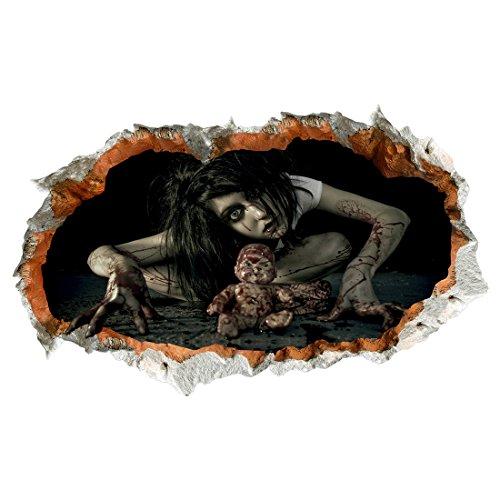Enerhu Halloween 3D Wall Stickers Wallpaper Floor-stickers Scary Bloody Woman Dead Baby Walls Floor Decal Home Living Room Bedroom Bathroom #2(93x56cm/36.61x22.05inch)