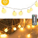 33 FT 100 LED Globe Ball String Lights, Fairy String Lights Plug in, 8 Modes with Remote, Decor for...