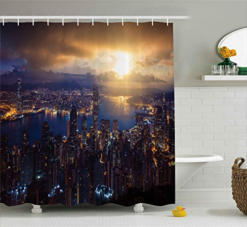 - Ambesonne Urban Decor Shower Curtain by, Aerial Skyline of Night Victoria Peak Hong Kong Skyscrapers Metropolis Image, Fabric Bathroom Decor Set with Hooks, 70 Inches, Blue Golden