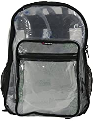 Amaro 16 inch Clear Backpack, Clear Bag, Clear Work Bag, Heavy Duty Clear BackPack, Transparent School Bookbag