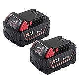Fhybat M18 for Milwaukee 18V Red Lithium XC 4.0Ah Battery Pack 48-11-1852 48-11-1820 48-11-1815 48-11-1850 (2Packs)