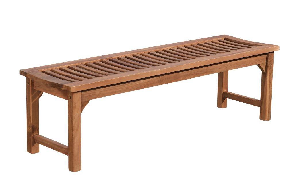 CLP solide Holz-Bank HAVANA ohne Lehne, aus massivem Teakholz (bis zu 5 Größen wählbar) 220x45x45 cm