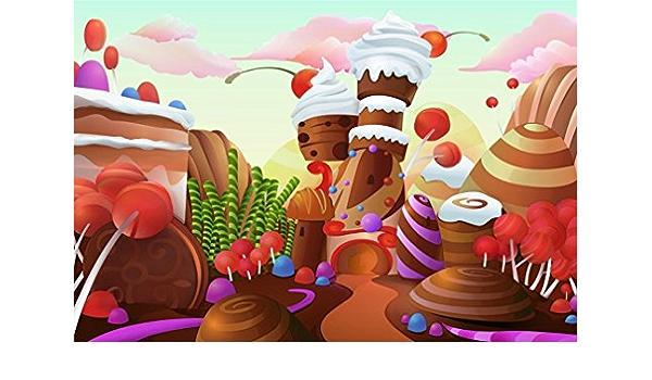 AOFOTO 5x3ft Fantasy Candy Land Landscape Background Cartoon Ice Cream Dessert Lollipop Photography Backdrop Rainbow Birthday Party Decoration Banner Photo Studio Props Kid Baby Girl Vinyl Wallpaper