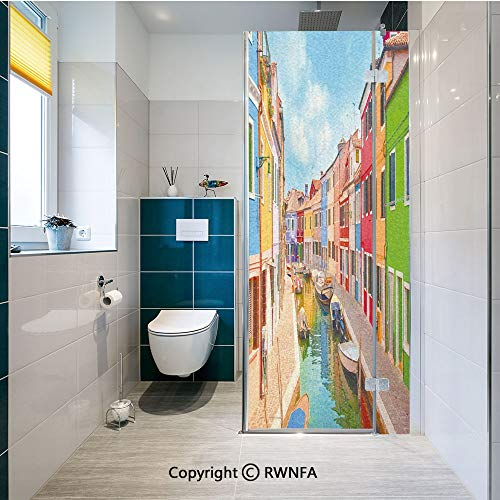 RWNFA Window Films Privacy Glass Sticker Colorful Buildings and Water Canal with Boats Burano Island in The Venetian Lagoon Static Decorative Heat Control Anti UV 23.6In by 47.2In,Multicolor