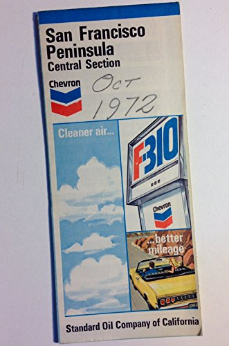 Vintage Original 1972 San Francisco Penninsula Central Section California Chevron Standard Oil Road Map
