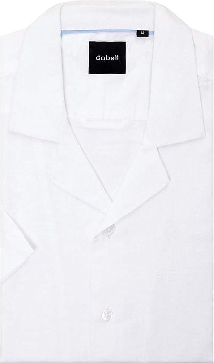 Dobell Camisa Blanca con Cuello Cubano y Manga Corta S: Amazon.es: Ropa y accesorios