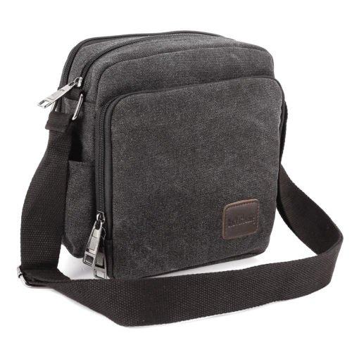 The Pecan Man Black Vintage Canvas Messenger Shoulder Bag Travel Hiking Satchel Military Shoulder Bag