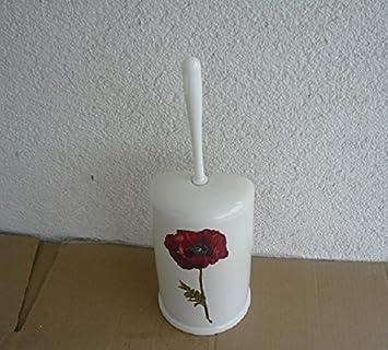Toilettenbürstengarnitur Aus Keramik Dekor Weiß Mit Druck Mohnblume