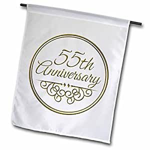 "3dRose fl _ 154497_ 1""55th aniversario regalo–oro texto celebrar aniversarios de boda"" jardín bandera, 12x 18"""